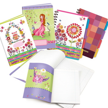 exercise books and spiral notepads
