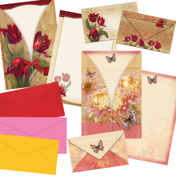 envelopes, writing sets